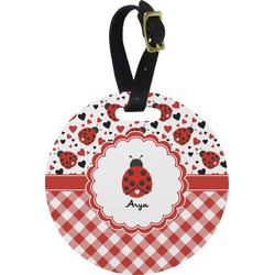 Ladybugs & Gingham Round Luggage Tag (Personalized)