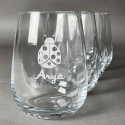 Ladybugs & Gingham Wine Glasses (Stemless Set of 4) (Personalized)
