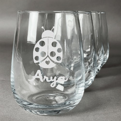 Ladybugs & Gingham Stemless Wine Glasses (Set of 4) (Personalized)
