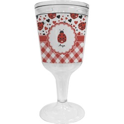 Ladybugs & Gingham Wine Tumbler - 11 oz Plastic (Personalized)