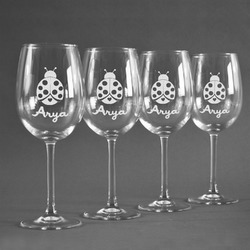 Ladybugs & Gingham Wineglasses (Set of 4) (Personalized)