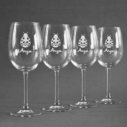 Ladybugs & Gingham Wine Glasses (Set of 4) (Personalized)