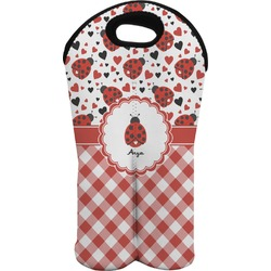 Ladybugs & Gingham Wine Tote Bag (2 Bottles) (Personalized)