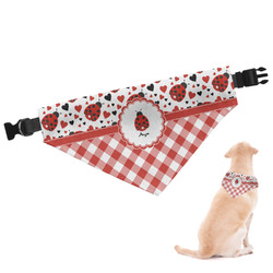 Ladybugs & Gingham Dog Bandana - Large (Personalized)