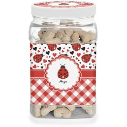 Ladybugs & Gingham Pet Treat Jar (Personalized)