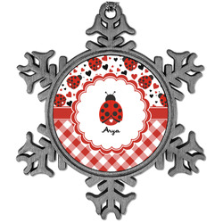 Ladybugs & Gingham Vintage Snowflake Ornament (Personalized)
