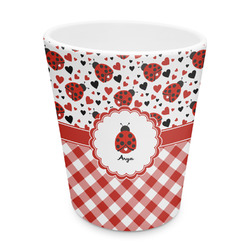 Ladybugs & Gingham Plastic Tumbler 6oz (Personalized)