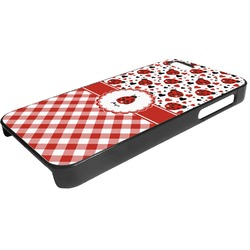 Ladybugs & Gingham Plastic iPhone 5/5S Phone Case (Personalized)