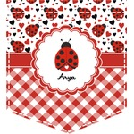 Ladybugs & Gingham Iron On Faux Pocket (Personalized)
