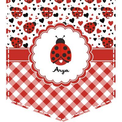 Ladybugs & Gingham Iron On Faux Pocket (Personalized)