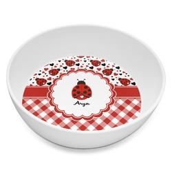 Ladybugs & Gingham Melamine Bowl 8oz (Personalized)
