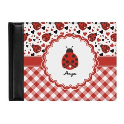 Ladybugs & Gingham Genuine Leather Guest Book (Personalized)