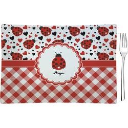 Ladybugs & Gingham Glass Rectangular Appetizer / Dessert Plate - Single or Set (Personalized)