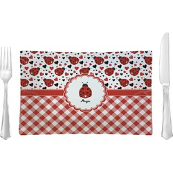 Ladybugs & Gingham Glass Rectangular Lunch / Dinner Plate - Single or Set (Personalized)