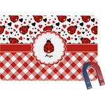 Ladybugs & Gingham Rectangular Fridge Magnet (Personalized)