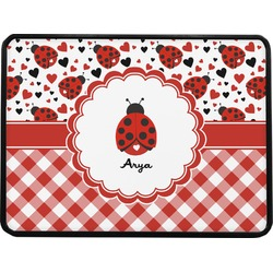 """Ladybugs & Gingham Rectangular Trailer Hitch Cover - 1.25"""" (Personalized)"""