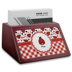 Ladybugs & Gingham Red Mahogany Business Card Holder (Personalized)