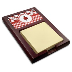 Ladybugs & Gingham Red Mahogany Sticky Note Holder (Personalized)