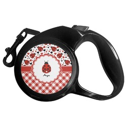 Ladybugs & Gingham Retractable Dog Leash - Multiple Sizes (Personalized)