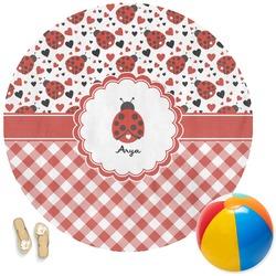 Ladybugs & Gingham Round Beach Towel (Personalized)
