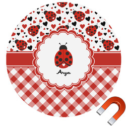 Ladybugs & Gingham Round Car Magnet (Personalized)