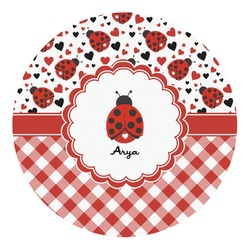 Ladybugs & Gingham Round Decal - Custom Size (Personalized)