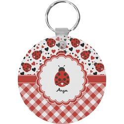 Ladybugs & Gingham Round Keychain (Personalized)