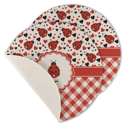 Ladybugs & Gingham Round Linen Placemat (Personalized)