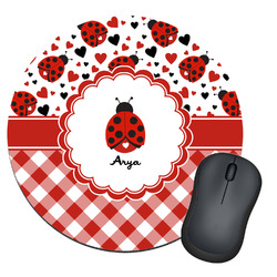 Ladybugs & Gingham Round Mouse Pad (Personalized)