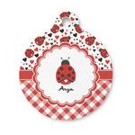 Ladybugs & Gingham Round Pet Tag (Personalized)