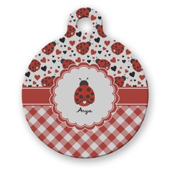 Ladybugs & Gingham Round Pet Tag (Personalized)
