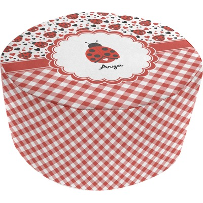 Ladybugs & Gingham Round Pouf Ottoman (Personalized)
