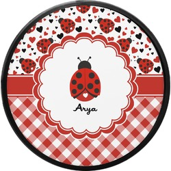 Ladybugs & Gingham Round Trailer Hitch Cover (Personalized)