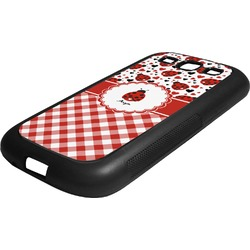 Ladybugs & Gingham Rubber Samsung Galaxy 3 Phone Case (Personalized)
