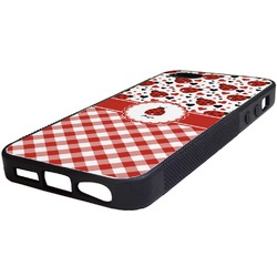 Ladybugs & Gingham Rubber iPhone 5/5S Phone Case (Personalized)