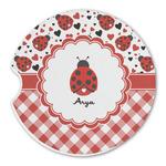 Ladybugs & Gingham Sandstone Car Coasters (Personalized)