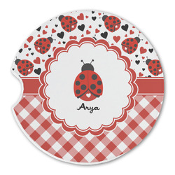 Ladybugs & Gingham Sandstone Car Coaster - Single (Personalized)