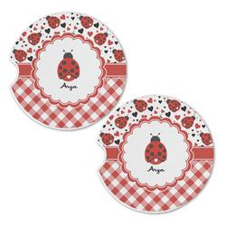 Ladybugs & Gingham Sandstone Car Coasters - Set of 2 (Personalized)