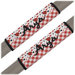 Ladybugs & Gingham Seat Belt Covers (Set of 2) (Personalized)