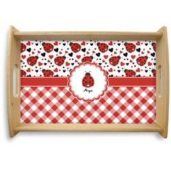 Ladybugs & Gingham Natural Wooden Tray - Small (Personalized)