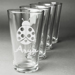 Ladybugs & Gingham Beer Glasses (Set of 4) (Personalized)