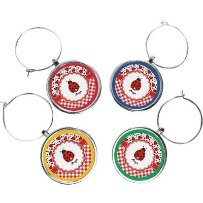 Ladybugs & Gingham Wine Charms (Set of 4) (Personalized)