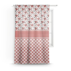 "Ladybugs & Gingham Sheer Curtain - 50""x84"" (Personalized)"