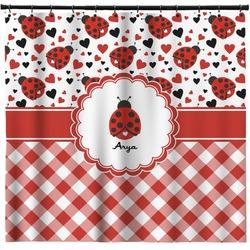 Ladybugs & Gingham Shower Curtain (Personalized)