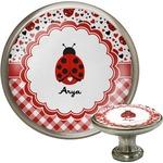 Ladybugs & Gingham Cabinet Knob (Silver) (Personalized)
