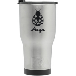 Ladybugs & Gingham RTIC Tumbler - Silver - Engraved Front (Personalized)