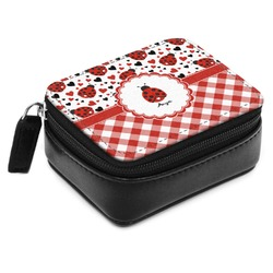 Ladybugs & Gingham Small Leatherette Travel Pill Case (Personalized)