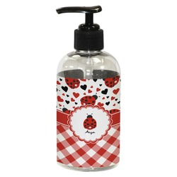 Ladybugs & Gingham Plastic Soap / Lotion Dispenser (8 oz - Small) (Personalized)