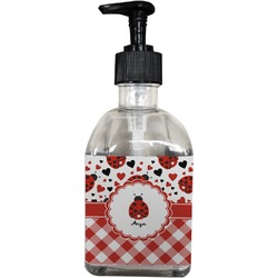 Ladybugs & Gingham Soap/Lotion Dispenser (Glass) (Personalized)