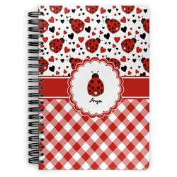 Ladybugs & Gingham Spiral Bound Notebook (Personalized)